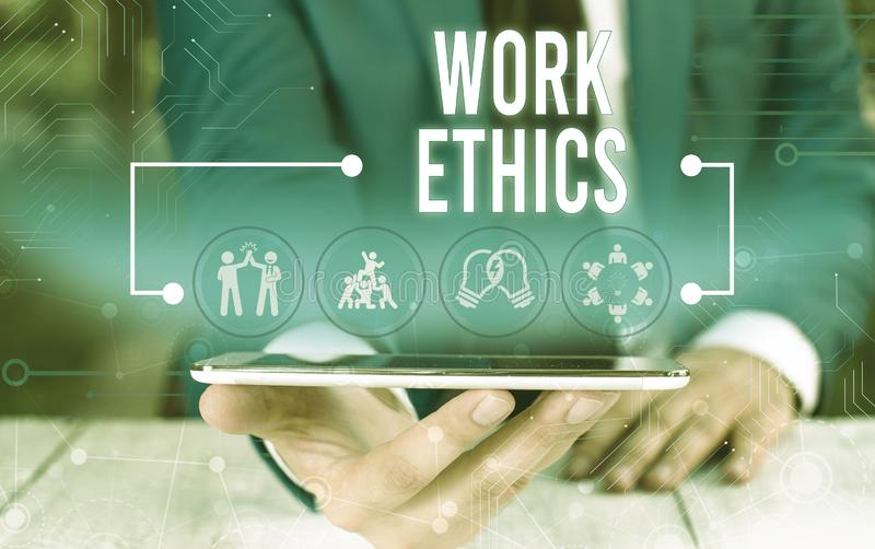 Word writing text Work Ethics. Business concept for A set of values centered on the importance of doing work Male human. Word writing text Work Ethics. Business royalty free stock images