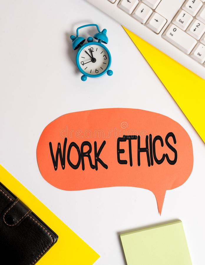 Word writing text Work Ethics. Business concept for A set of values centered on the importance of doing work Flat lay. Word writing text Work Ethics. Business stock image