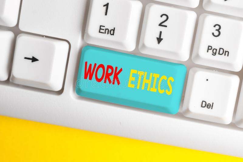 Word writing text Work Ethics. Business concept for A set of values centered on the importance of doing work White pc. Word writing text Work Ethics. Business royalty free stock photography