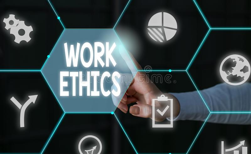 Word writing text Work Ethics. Business concept for A set of values centered on the importance of doing work Male human. Word writing text Work Ethics. Business stock photos