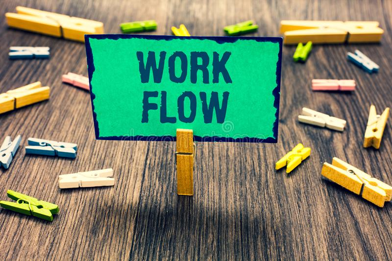 Word writing text Work Flow. Business concept for Continuity of a certain task to and from an office or employer Clothespin holdin. G green paper note several stock illustration