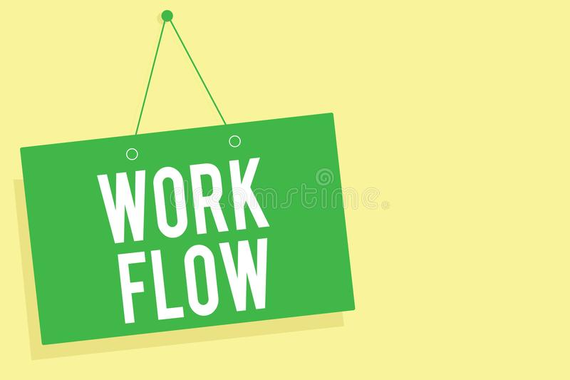 Word writing text Work Flow. Business concept for Continuity of a certain task to and from an office or employer Green board wall. Message communication open stock illustration
