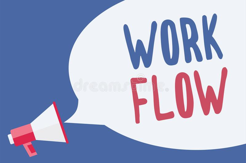 Word writing text Work Flow. Business concept for Continuity of a certain task to and from an office or employer Megaphone loudspe. Aker speech bubble important stock illustration