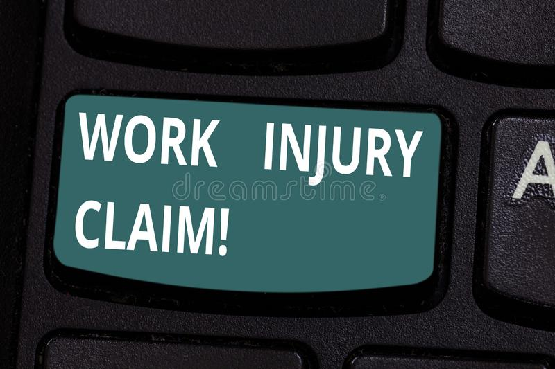 Word writing text Work Injury Claim. Business concept for insurance providing medical benefits to employees Keyboard key royalty free stock photography