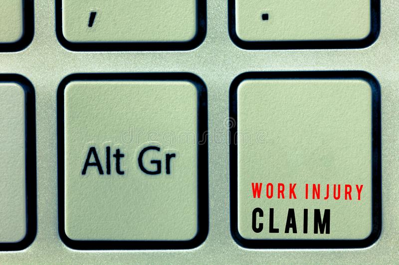 Word writing text Work Injury Claim. Business concept for Medical care reimbursement Employee compensation.  stock images