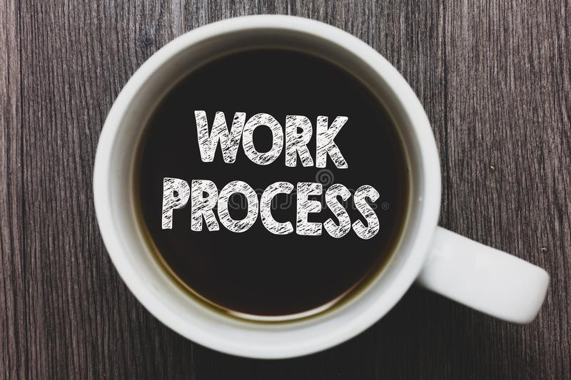 Word writing text Work Process. Business concept for Standard procedures how to handle a particular job rules system Black coffee. With coffee mug floating royalty free stock photography