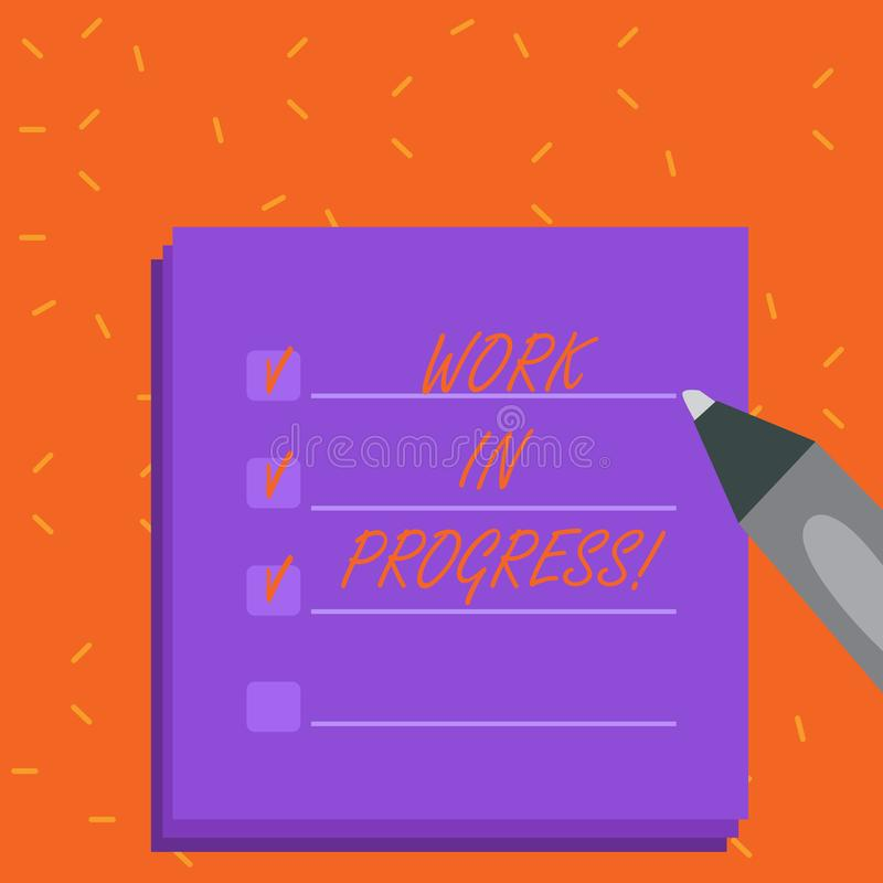 Word writing text Work In Progress. Business concept for People is working right know to deliver expected results Blank. Word writing text Work In Progress royalty free illustration