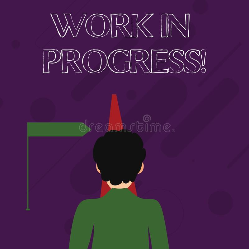 Word writing text Work In Progress. Business concept for People is working right know to deliver expected results Man. Word writing text Work In Progress royalty free illustration