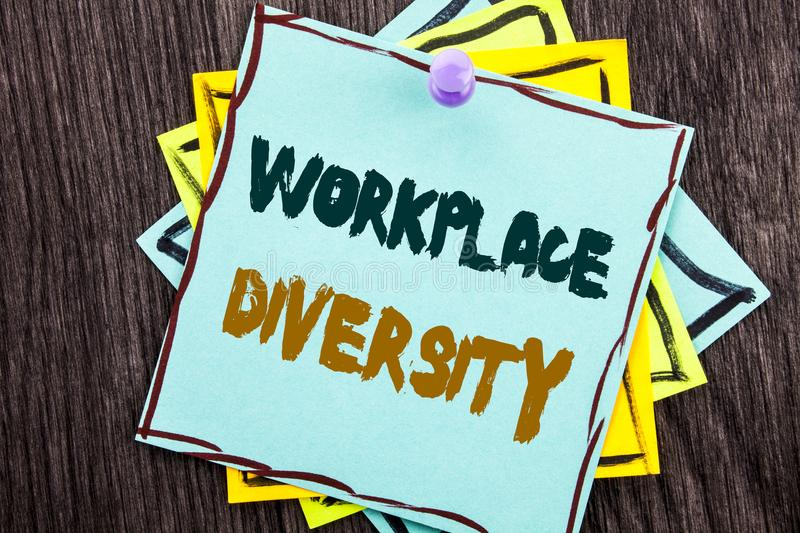 Word, writing, text Workplace Diversity. Business concept for Corporate Culture Global Concept For Disability written on Blue Sti. Word, writing, text Workplace stock photos