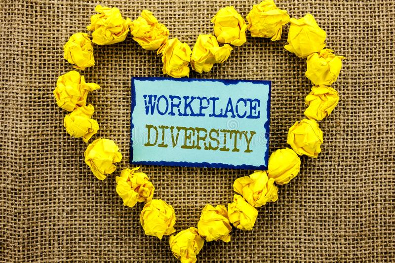 Word, writing, text Workplace Diversity. Business concept for Corporate Culture Global Concept For Disability written on Sticky N. Word, writing, text Workplace royalty free stock photos