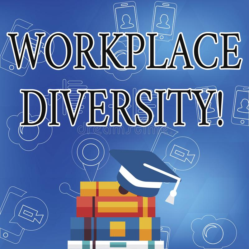Word writing text Workplace Diversity. Business concept for Different race gender age sexual orientation of workers. Word writing text Workplace Diversity vector illustration