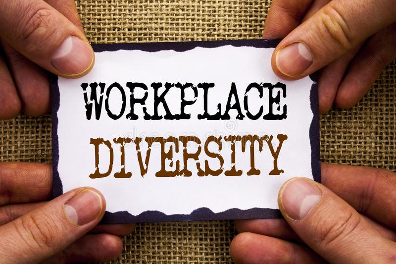 Word, writing, text Workplace Diversity. Conceptual photo Corporate Culture Global Concept For Disability written on Sticky Note. Word, writing, text Workplace royalty free stock photo
