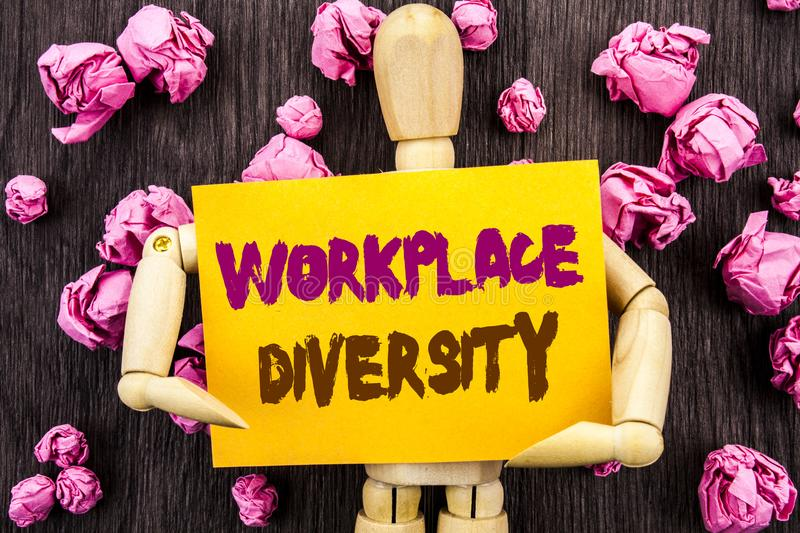 Word, writing, text Workplace Diversity. Conceptual photo Corporate Culture Global Concept For Disability written on Sticky Note. Word, writing, text Workplace stock photography
