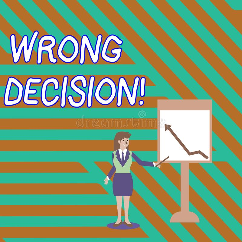 Word writing text Wrong Decision. Business concept for Action or conduct inflicting harm without due provocation. Word writing text Wrong Decision. Business stock illustration