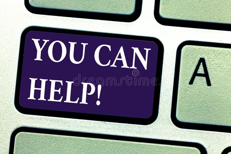 Word writing text You Can Help. Business concept for Be a volunteer helping showing in need Give assistance Keyboard key stock photos