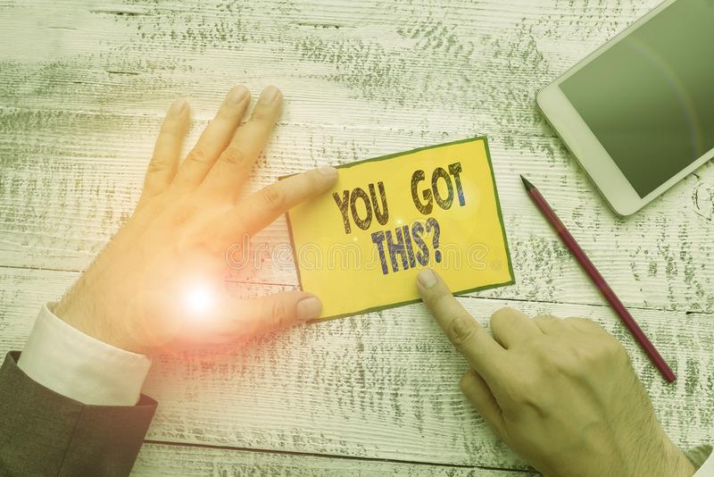 Word writing text You Got This Question. Business concept for Believe that showing will succeed in doing something. Word writing text You Got This Question stock image