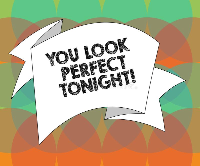 Word writing text You Look Perfect Tonight. Business concept for Flirting beauty appreciation roanalysistic feelings. Folded 3D Ribbon Strip Solid Color Blank royalty free illustration