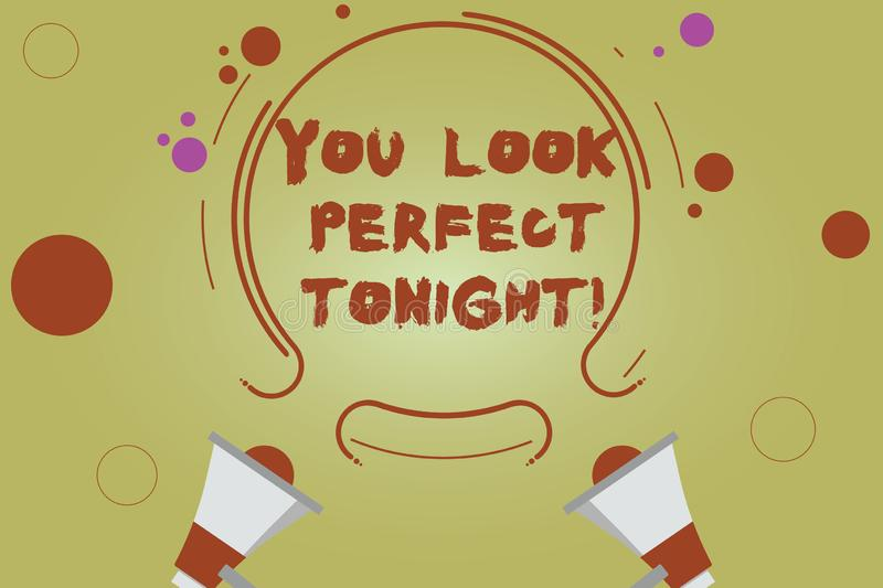 Word writing text You Look Perfect Tonight. Business concept for Flirting beauty appreciation roanalysistic feelings Two. Megaphone and Circular Outline with vector illustration