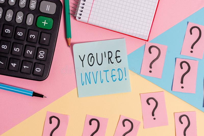 Word writing text You Re Invited. Business concept for make a polite friendly request to someone go somewhere. Word writing text You Re Invited. Business photo stock images