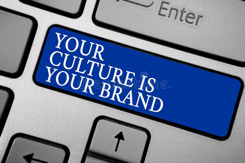 Word writing text Your Culture Is Your Brand. Business concept for Knowledge Experiences are a presentation card Grey silvery keyb stock image