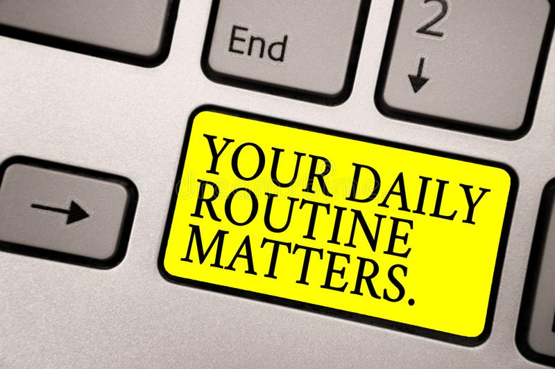 Word writing text Your Daily Routine Matters. Business concept for Have good habits to live a healthy life Grey silvery keyboard w. Ith bright yellow color stock photo