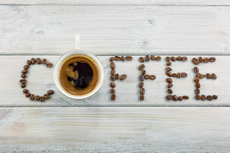 Word written with coffee beans. stock images