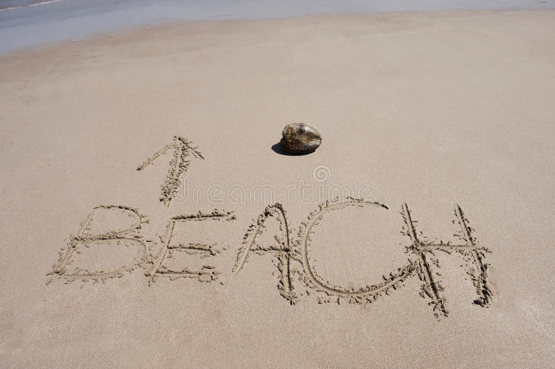 Word written in sand on tropical beach & coconut