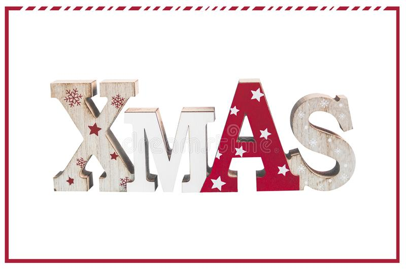 Word Xmas, isolated on white background with red frame. Christmas greeting card royalty free stock photography
