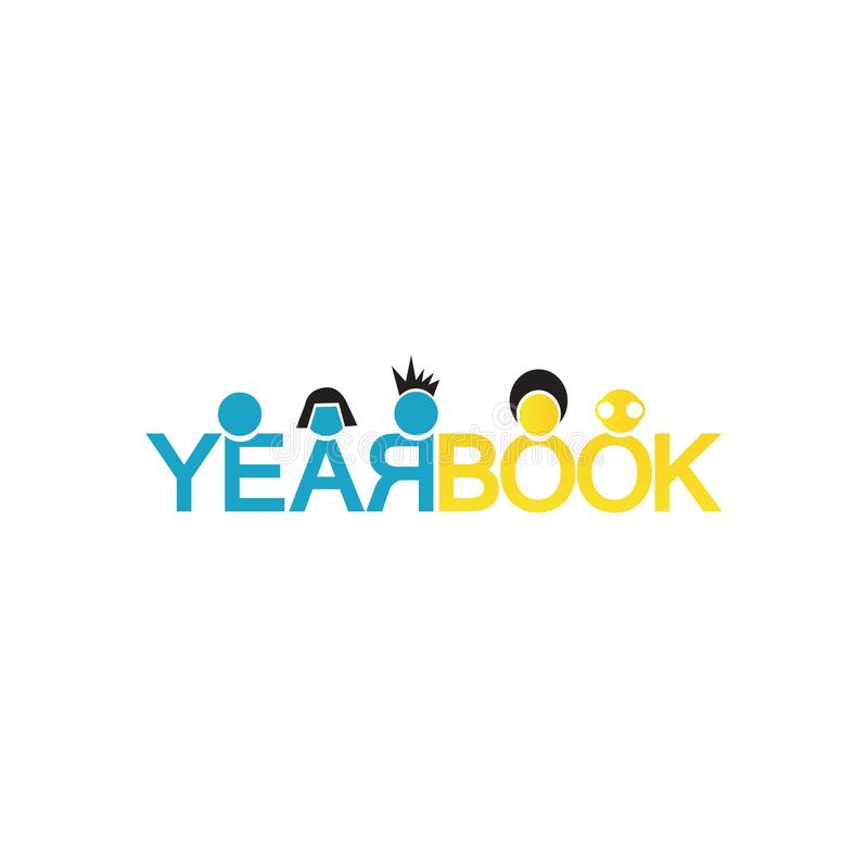 Word of Yearbook design for year book cover logo Vector background illustrations. Celebration, ceremony, success, elementary, schooling, grad, party, symbol vector illustration