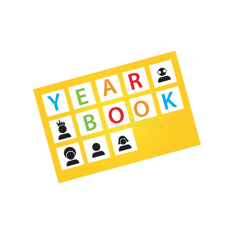 Word of Yearbook design for year book cover logo Vector background illustrations. Celebration, ceremony, success, elementary, schooling, grad, party, symbol stock illustration