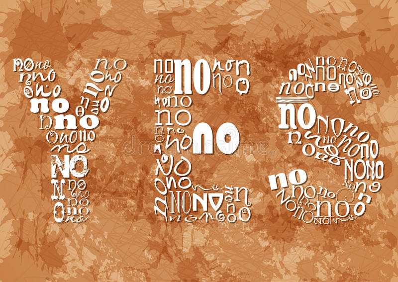 Word YES consisting of small NO on beige grunge background royalty free illustration