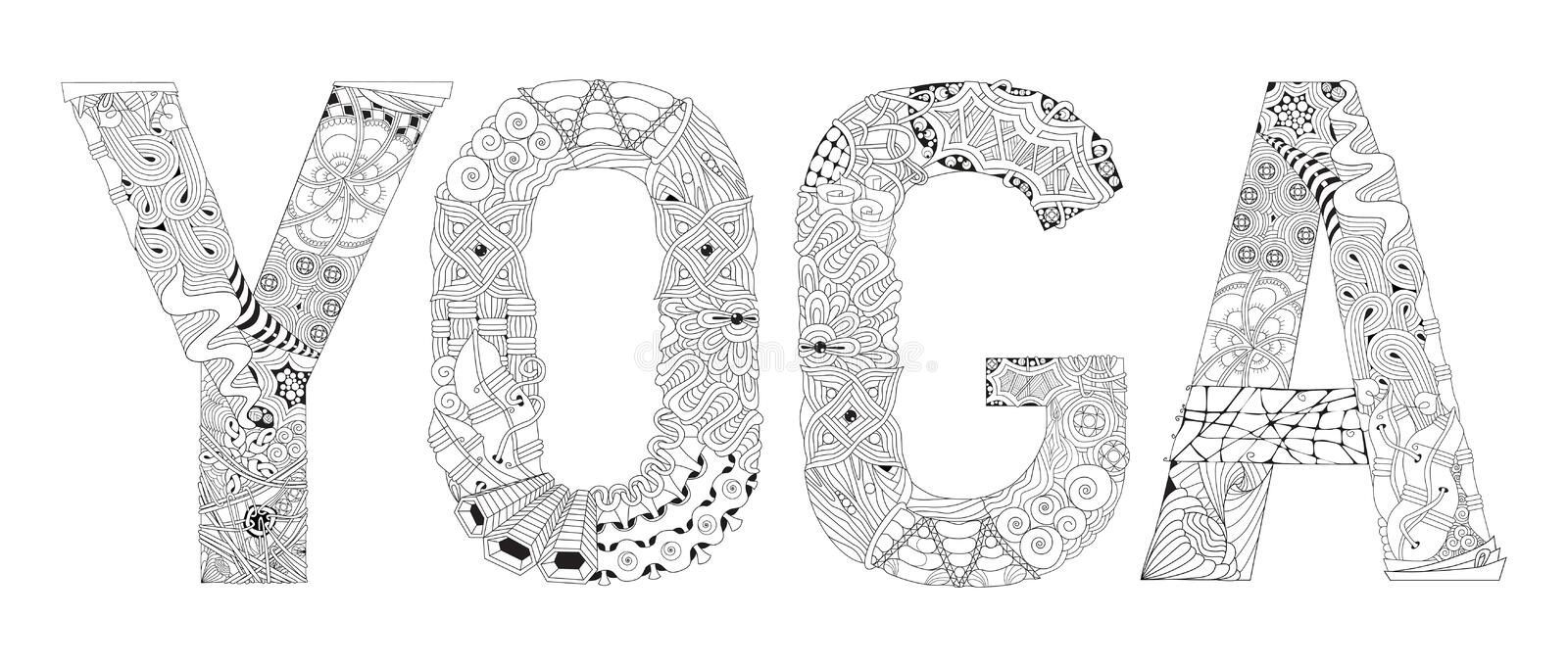 Word YOGA for coloring. Vector decorative zentangle object vector illustration