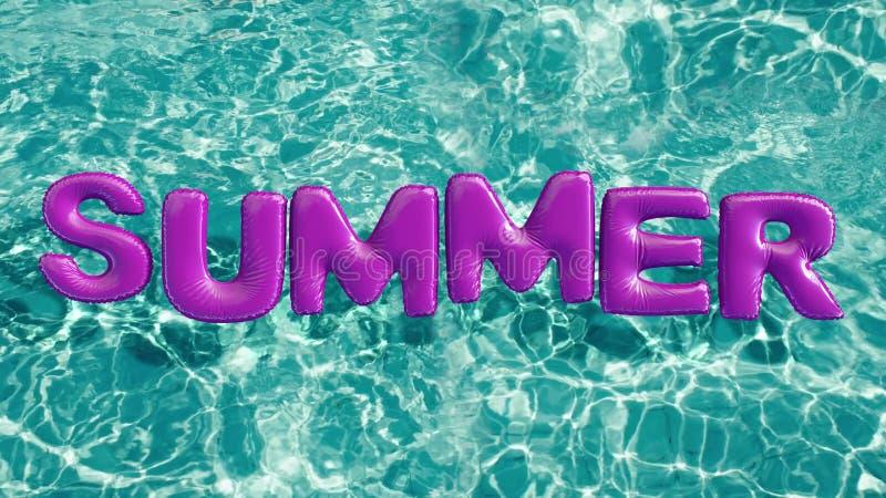 Word ` Zomer ` vormde opblaasbaar zwemt ring die in een verfrissend blauw zwembad drijven stock illustratie