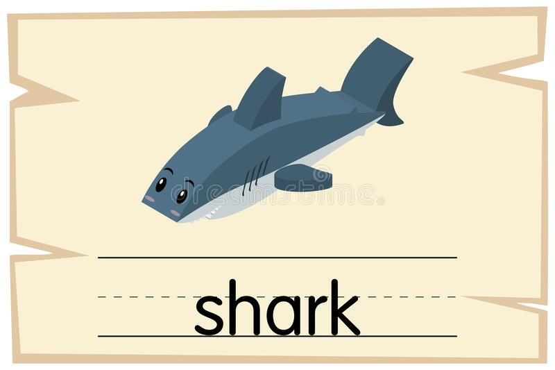 Wordcard για τον καρχαρία λέξης διανυσματική απεικόνιση
