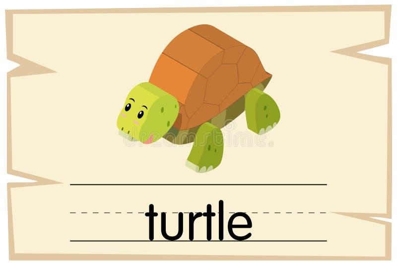 Wordcard με τη χελώνα λέξης ελεύθερη απεικόνιση δικαιώματος