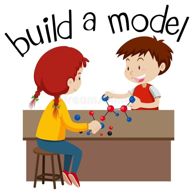 Wordcard для строения модель с играть 2 детей иллюстрация вектора