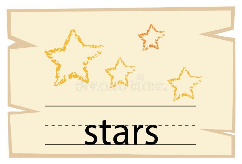 Wordcard для звезд слова иллюстрация вектора