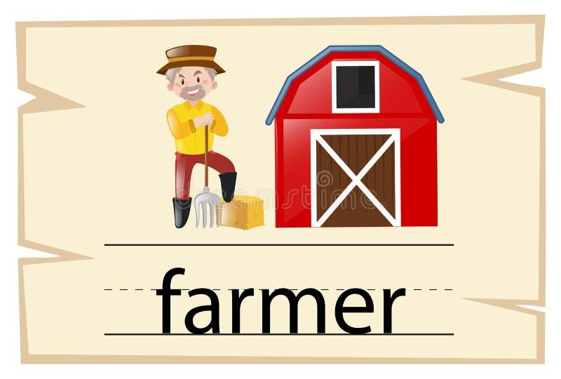 Wordcard для фермера слова бесплатная иллюстрация