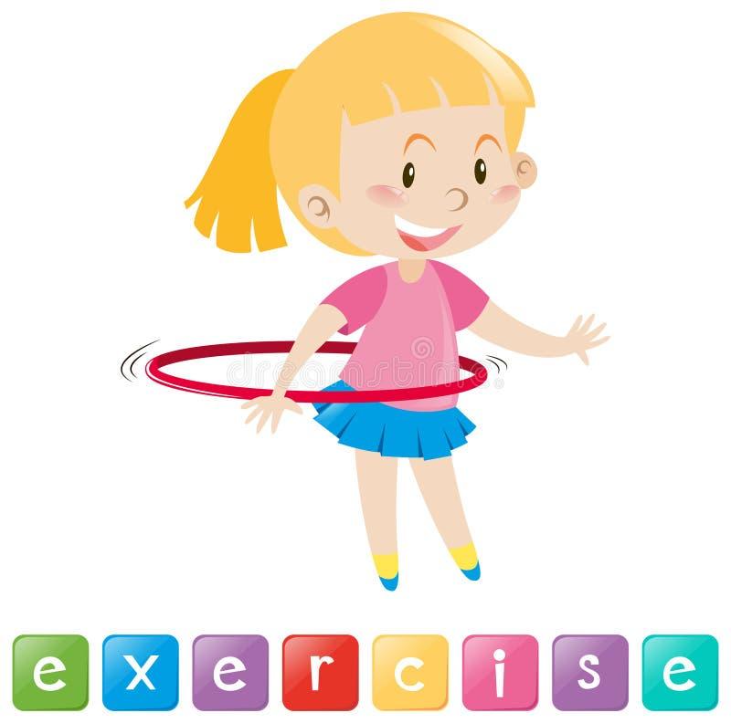 Wordcard com exercício da menina ilustração royalty free