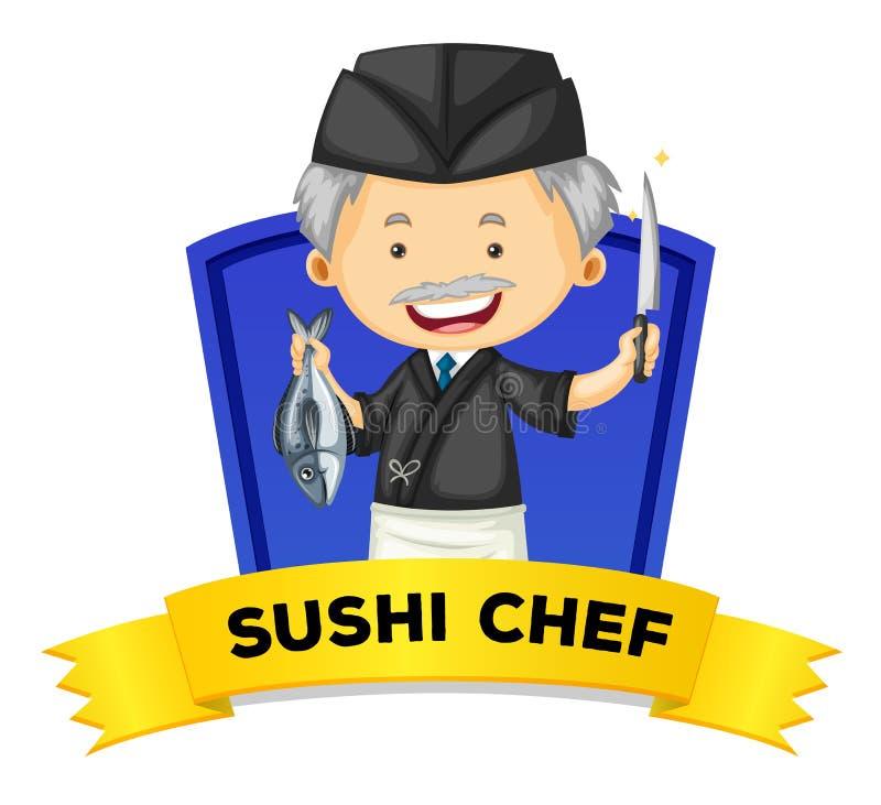 Wordcard da ocupação com cozinheiro chefe de sushi ilustração royalty free