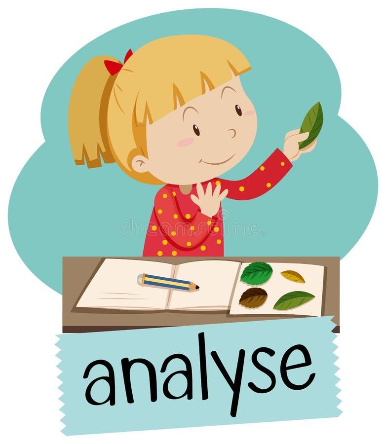 Wordcard för analyserar med flickan som ser sidor stock illustrationer
