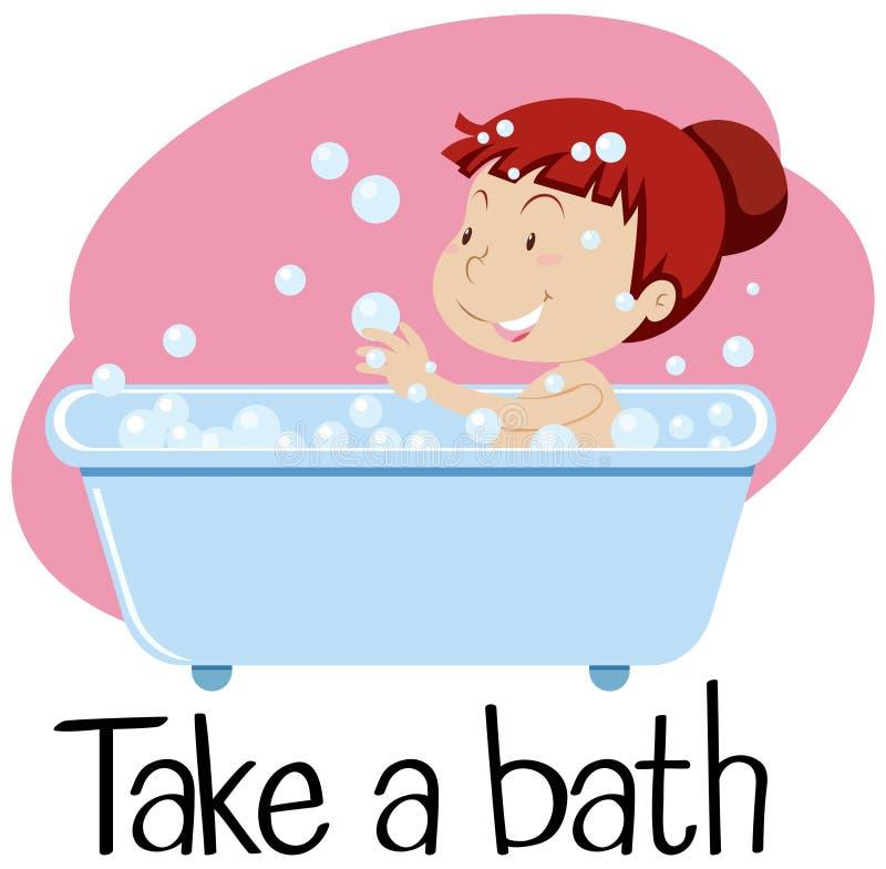 Wordcard för tar ett bad med flickan badar in stock illustrationer