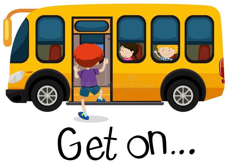 Wordcard für erhalten an mit dem Jungen, der auf schoolbus erhält vektor abbildung