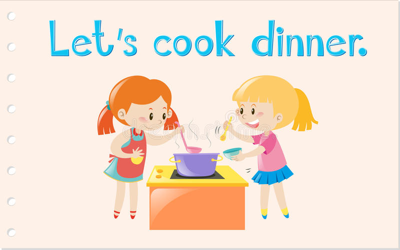 Wordcard med två flickor som lagar mat matställen royaltyfri illustrationer