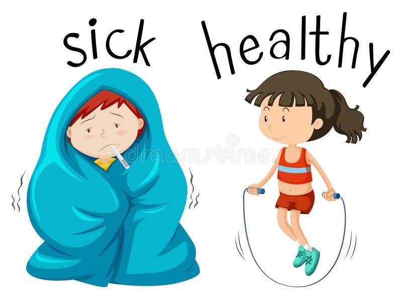 Wordcard opuesto para la palabra enferma y sana ilustración del vector
