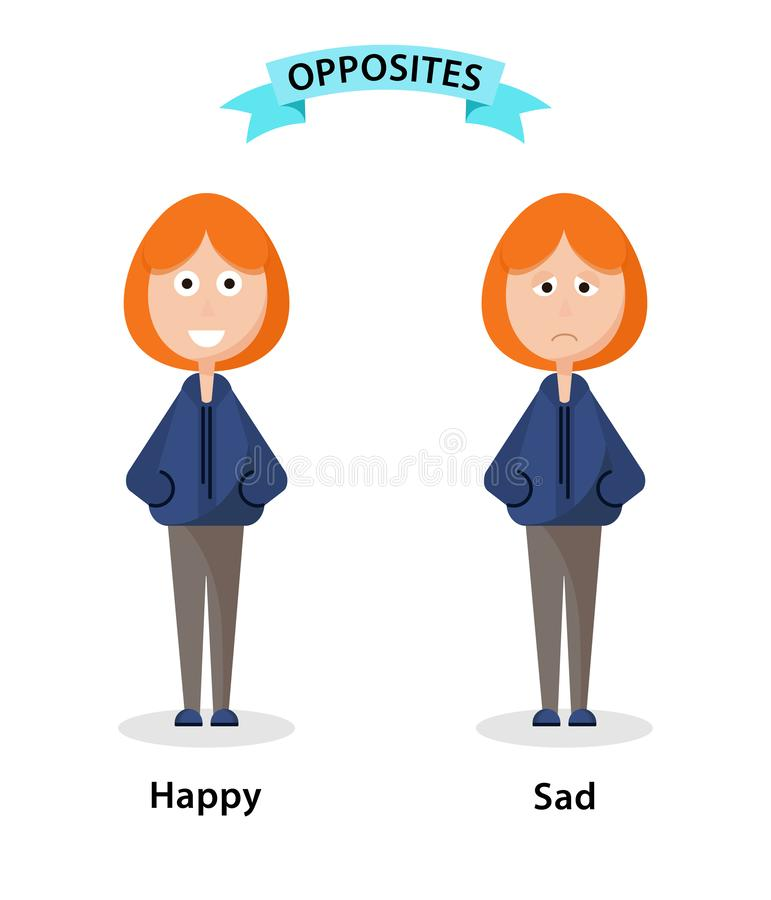 Wordcard para los antónimos y los contrarios felices y tristes Ejemplo de los personajes de dibujos animados en el fondo blanco T libre illustration