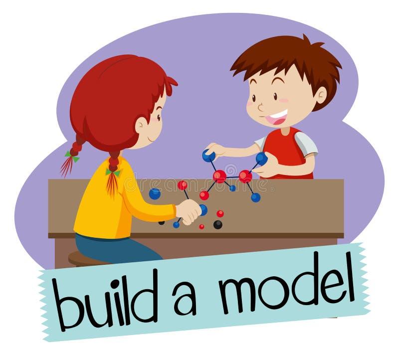 Wordcard per configurazione un modello con due studenti che sviluppano i modelli illustrazione di stock