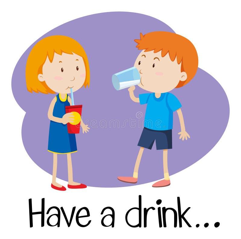 Wordcard pour ont une boisson illustration de vecteur