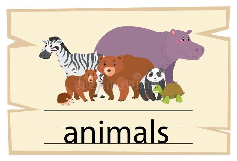 Wordcard projekt dla słów zwierząt ilustracji