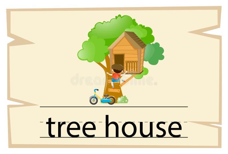 Wordcard projekt dla słowa domek na drzewie ilustracji